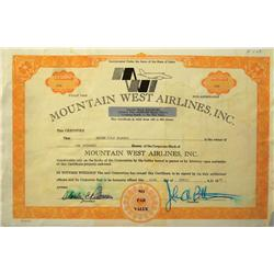 Boise,ID - Ada County - 1978 - Mountain West Airlines Stock Certificate :