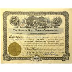Boise,ID - Ada County - 1935 - Shirley Gold Mining Corporation Stock Certificate :