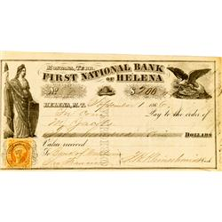 Helena,MT - Lewis and Clark County - September 1, 1866 - First National Bank of Helena *Territorial*