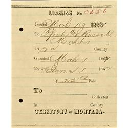 Virginia City,MT - Madison County - March 13, 1867 - Pfouts and Russell License *Territorial* :