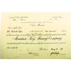 NM - June 6, 1887 - Mountain Key Mining Company Stock Certificate :