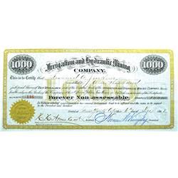 Santa Fe,NM - Golden County - Dec 6, 1893 - Irrigation and Hydraulic Mining Company Stock Certificat