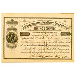 Silver City,NM - Grant County - September 10, 1881 - Massachusetts and New Mexico Consolidated Minin