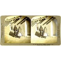 Tesuke,NM - Santa Fe County - 1909 - Chief and Daughter Stereoview :