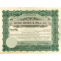 NV - 1928 - Acme Mines & Mill, Inc Stock Certificate :