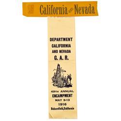 NV - 1916 - Nevada and California G.A.R. Ribbons :