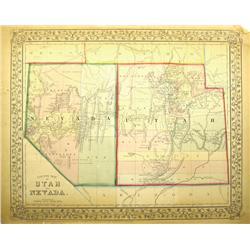 NV - c1870 - Nevada-Utah County Map :
