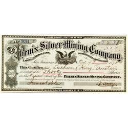 NV - Lander County - 1878 - Phenix Silver Mining Company Stock Certificate :
