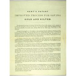 Austin,NV - Lander County - November 15, 1864 - Kent's Patent Improved Process For Saving Gold and S