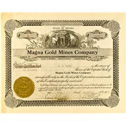 Austin,NV - Sept. 20, 1927 - Magna Gold Mines Co. Stock :