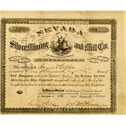 Austin,NV - Lander County - March 9, 1880 - Nevada Silver Mining and Mill Company Stock :