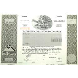Battle Mountain,NV - Lander County - Battle Mountain Gold Company Stock Certificate :