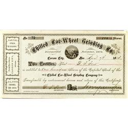 Carson City,NV - Ormsby County - 1884 - Chilled Car-Wheel Grinding Co. Stock Certificate :