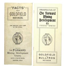Goldfield,NV - Esmeralda County - c1905 - Facts and Prospectus Books Forward Mining Development Co.