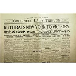 Goldfield,NV - Esmeralda County - October 6, 1926 - Goldfield Daily Tribune Newspaper, Babe Ruth Win