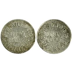 Goldfield,NV - Esmeralda County - Miller, H. W., & Co. Token : 1  loaf of bread -