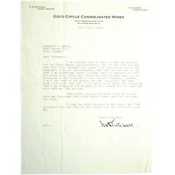 Reno,NV - Washoe County - 1934 - Gold Circle Consolidated Mines Letter :