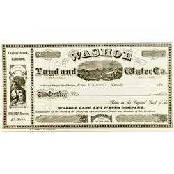 Reno,NV - Washoe County - 187_ - Washoe Land and Water Co. Stock :