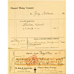 Rhyolite,NV - Nye County - May, 1907 - Hayseed Mining Company Paid Invoice and Check :