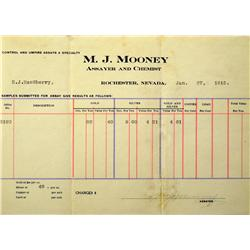Rochester,NV - Pershing County - 1915 - M.J. Mooney Assay Report :