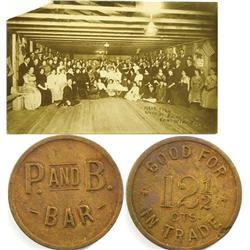 Rochester,NV - Pershing County - P & B Bar Post Card and Token :