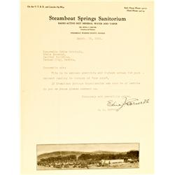 Steamboat,NV - Washoe County - March 13, 1935 - Steamboat Springs Sanitorium (sic) Letter :