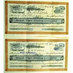 Tonopah,NV - Nye County - 1908 - Royal Tiger Mining Company Stock Certificate :