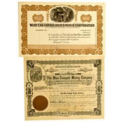 Tonopah,NV - Ny County - Tonopah Area Stock Certificates (2) :