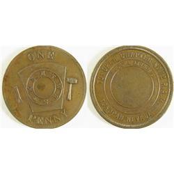 Tonopah,NV - Nye County - June 13th 1910 - Tonopah Chapter #12 R.A.M Token : 1 penny -