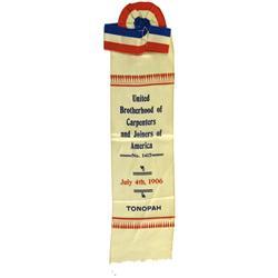 Tonopah,NV - Nye County - July 4, 1906 - United Brotherhood of Carpenters and Joiners of America Rib