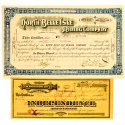 Tuscarora,NV - Tuscarora Dist. Mining Stock Certificates (2) :