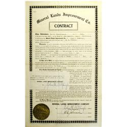 Velma,NV - Nye County - June 26, 1907 - Mineral Lands Improvement Co. Contract :
