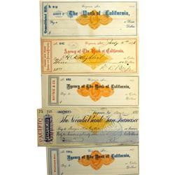 Virginia City,NV - Storey County - 1875 - Bank of California Checks (Lot A) :