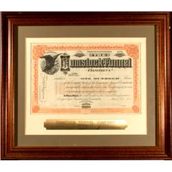 Virginia City,NV - Storey County - 4 October 1915 - Comstock Tunnel Company Stock Certificate, Frame