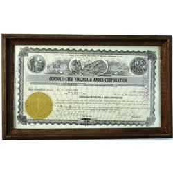 Virginia City,NV - Storey County - 1931-1936 - Consolidated Virginia & Andes Corporation Stock Certi