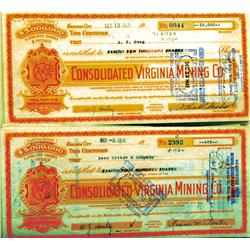 Virginia City,NV - Storey County - 1935-1944 - Consolidated Virginia Mining Co. Stock Certificates,