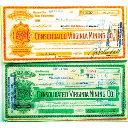 Virginia City,NV - Storey County - 1924-1944 - Consolidated Virginia Mining Co. Stock Certificates,