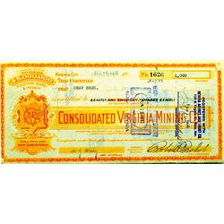 Virginia City,NV - Storey County - 1935-1939 - Consolidated Virginia Mining Co. Stock Certificates,