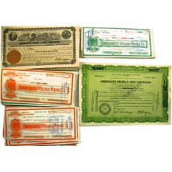 Virginia City,NV - Storey County - 1931-1944 - Consolidated Virginia Mining Co. Stock Certificates,