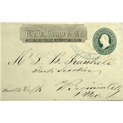 Virginia City,NV - Storey County - 1868 - Dayton Wells Fargo Express Cover *Territorial* :