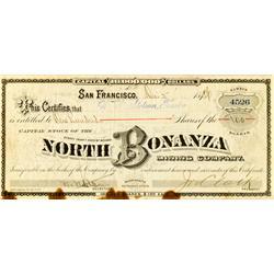 Virginia City,NV - Storey County - 1886 - North Bonanza Mining Company Stock :