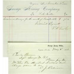 Virginia City,NV - Storey County - 1868, 1883 - Savage Mining Company Documents :