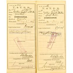 Virginia City,NV - Storey County - 1878 - V&T Railroad Shipment Vouchers to Yellow Jacket Smelter :