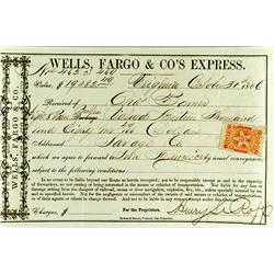 Virginia City,NV - Storey County - October 31, 1866 - Wells Fargo & Co.'s Express Bullion Receipt :