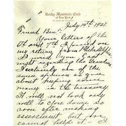 New York City,NY - July 14, 1921 - Letter mentioning Tex Rickard :