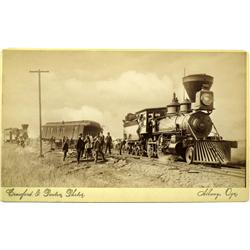 Albany,OR - Linn County - c1891 - Steam Engines with Car Under Repair Photograph :