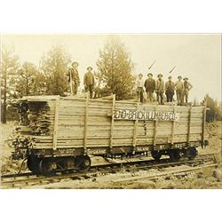 Bend,OR - Deschutes County - Nov. 6th, 1911 - Railroad Flatcar Loaded With Lumber and Workers Photog
