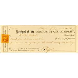 Eugene,OR - Lane County - August 31, 1867 - Oregon Stage Company Receipt :