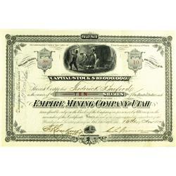 Salt Lake City,UT - Salt Lake County - November 16, 1880 - Empire Mining Company Stock Certificate :