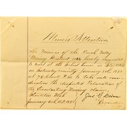 Stockton,UT - Tooele County - January 6, 1881 - Everlasting Mining Claim Letter of dispute :
